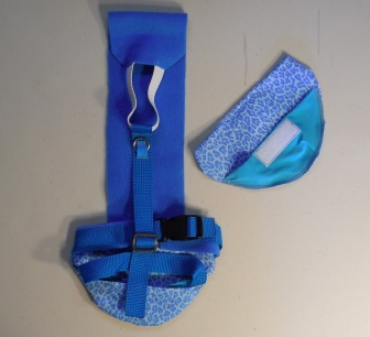Blue Leopard Print Goose Diaper Holder Harness